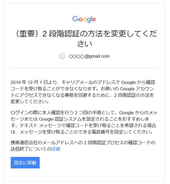 Google 2段階認証の方法を変更する旨、Google から届いたメール