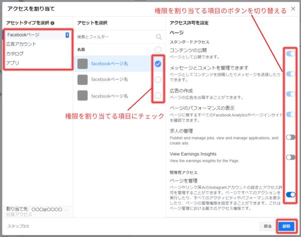 各アセットについて、権限を与える項目を選択し、全てチェックしたら、「招待」ボタンをクリック