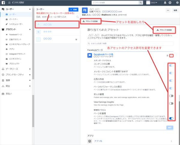 各ユーザーに対して割り当てられたアセットの詳細を確認します