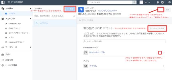 社員アクセスユーザーののビジネス設定画面