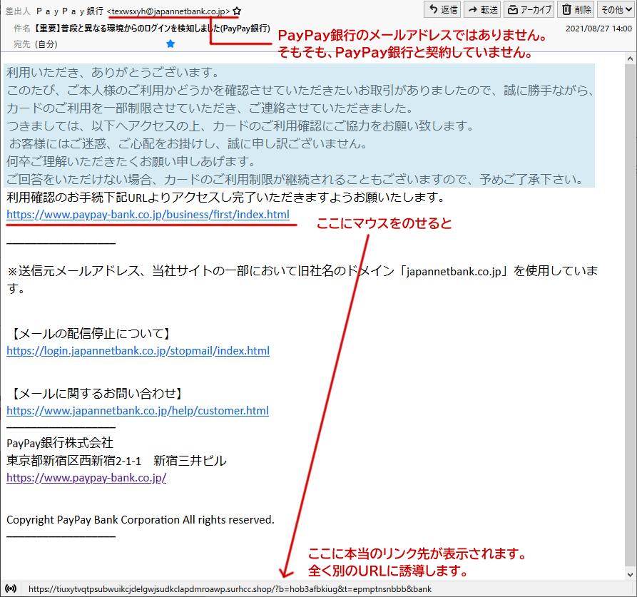 PayPay銀行を装ったフィッシングメールの文例